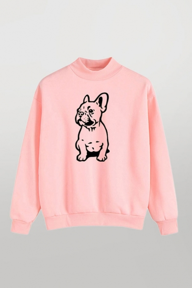 Preppy Look Cartoon Dog Print LongSleeve Round Neck Relaxed Fit Pullover Hoodie