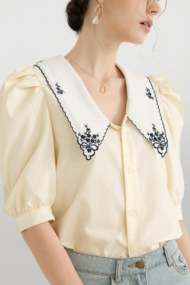Pretty Womens Floral Embroidery Contrast Trim Button Front Turn-down Collar Puff Sleeve Regular Fit Shirt in Yellow