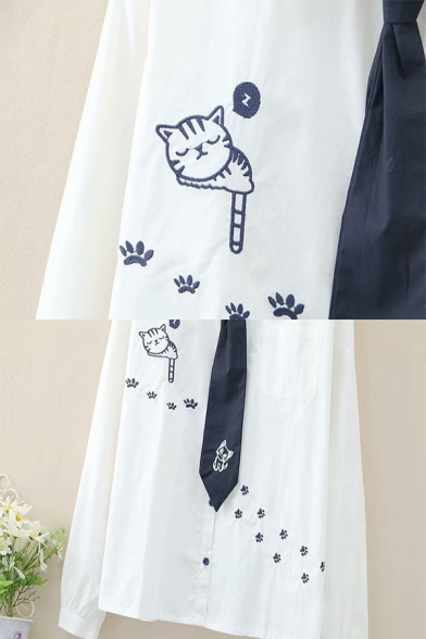 Simple White Cat Paw Embroidered Long Sleeve Point Collar Button Up Loose Fit Shirt with Tie