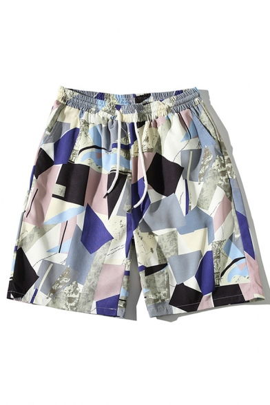 Stylish Relax Shorts Geometric Pattern Drawstring Pocket over the Knee Relax Fitted Mid Rise Relax Shorts for Men