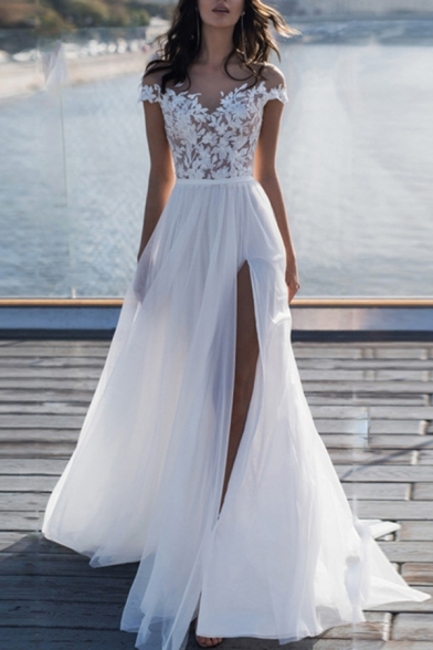 Adorable Ladies Applique Off the Shoulder High Cut Maxi Flowy Gown in White