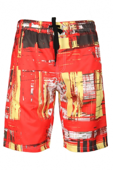 Cozy 3D Mens Relax Shorts Camo Abstract Lines Pattern Pocket Drawstring Straight Fit Mid Rise Knee Length Relax Shorts