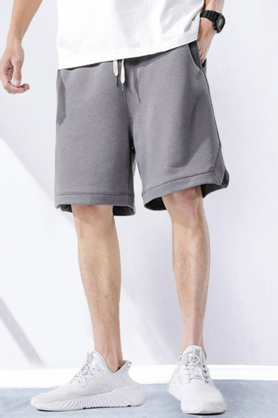 Dressy Mens Shorts Solid Color Pocket Drawstring Mid Rise Relaxed Fitted Shorts