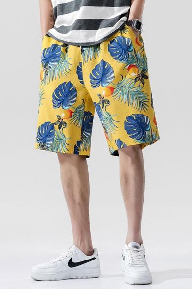 Fancy Shorts Leaf Fruit Pattern Pocket Drawstring Mid Rise Loose Fitted Shorts for Men