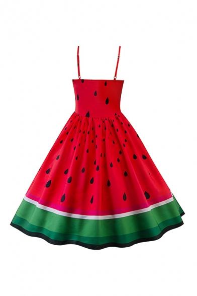 Glamorous Ladies Red Watermelon Print Patchwork Waist Pleated Sleeveless Spaghetti Strap Short Swing Cami Dress