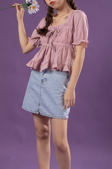 Ladies Solid Color Short Sleeve Square Neck Bow Tied Front Stringy Selvedge Pleated Relaxed Fit Fancy Shirt Top