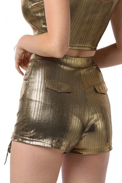 Nightclub Girls Plain Metallic High Rise Lace-up Slim Fit Shorts