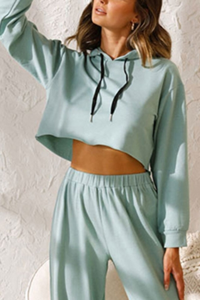 Stylish Womens Long Sleeve Drawstring Relaxed Cropped Hoodie in Green LM660734 фото