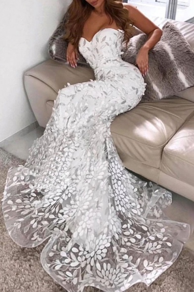 White Pretty Womens Lace Backless Strapless Sleeveless Floor Length Bodycon Tube Gown Mermaid Dress