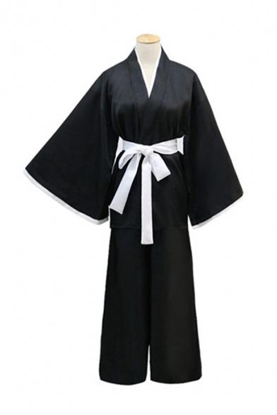 Anime Cosplay Long Sleeve Surplice Neck Bow Tied Waist Maxi Loose Fit Kimono in Black