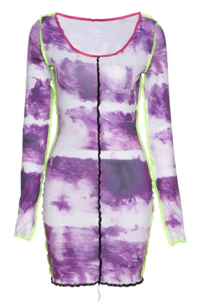 Creative Girls Tie Dye Printed Stringy Selvedge Long Sleeve Off the Shoulder Contrasted Pipe Short Sheath Dress in Purple