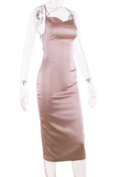 Elegant Ladies Satin Solid Color Spaghetti Straps Cowl Neck Mid Bodycon Slip Dress
