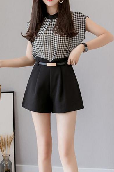 High Waist Pleated Plain Loose Shorts