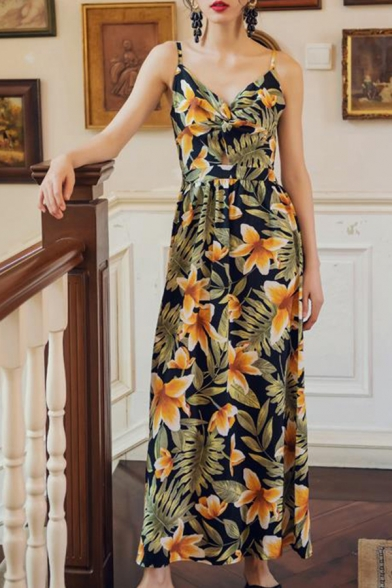 Hot Fashion Off The Shoulder Sleeveless Pineapple Printed Cutout Detail Bodycon Maxi Dress