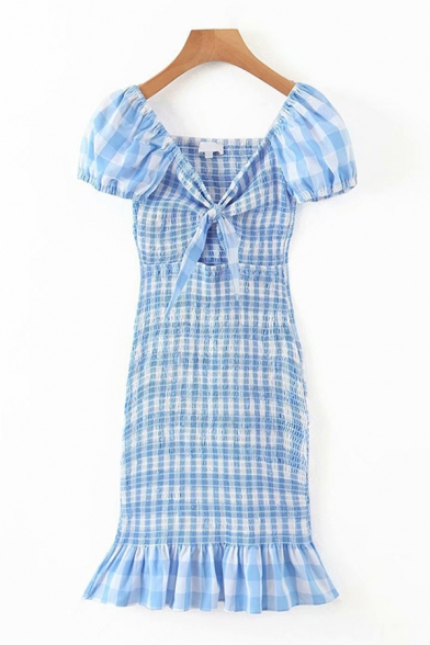 Pretty Womens Checkered Printed Sweetheart Neck Cut Out Tied Pintuck Ruffled Short Sheath Dress in Blue