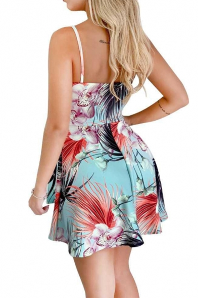 Summer's Tropical Leaves Printed Sleeveless Stripes Bow Tie Waist Mini Bodycon Tube Dress