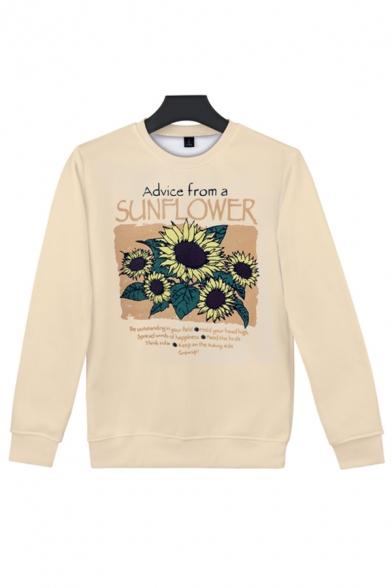 Trendy Girls' Long Sleeve Crew Neck Sunflower Print Letter ADVICE FROM A SUNFLOWER Loose Fit Pullover Sweatshirt