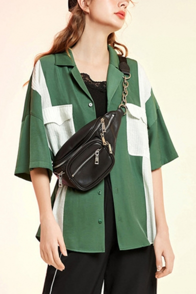 Vintage Womens Patchwork Flap Pocket Button Up Lapel Collar Half Sleeve Loose Fit Shirt in Green