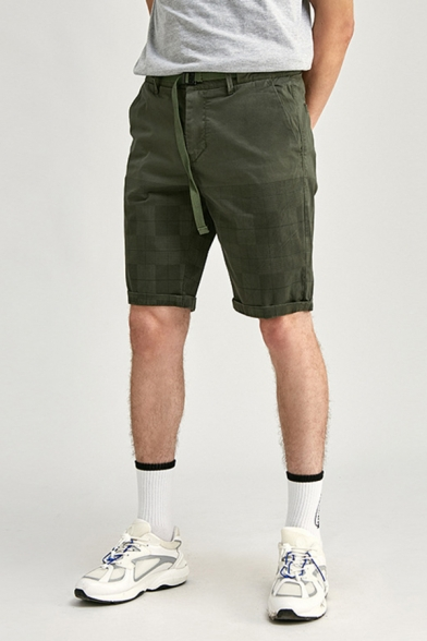 Basic Mens Chinos Shorts Plaid Pattern Buckle Decorated Knee-Length Zipper Fly Regular Fitted Chinos Shorts
