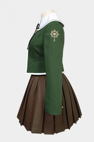 Cosplay Costume Contrasted Long Sleeve Sailor Collar Button Detail Bow Tied Fit Top & Short A-line Pleated Skirt Set in Green