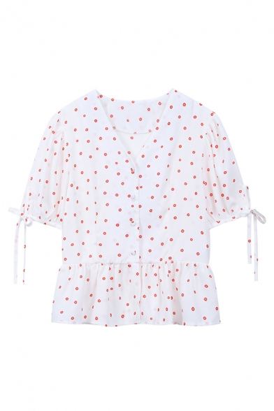 Cute Girls Polka Dot Printed Bow Tied Short Sleeve V-neck Button up Ruffled Hem Relaxed Fit Blouse Top