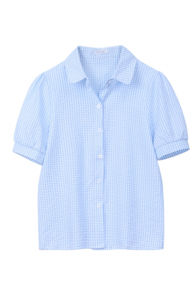 Cute Womens Checkered Printed Short Sleeve Spread Collar Button up Loose Shirt