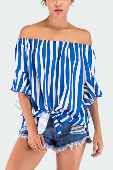 Fashion Womens Striped Print Open Back Tie Front Off the Shoulder Flare Cuff Sleeve Relaxed Fit Blouse Top