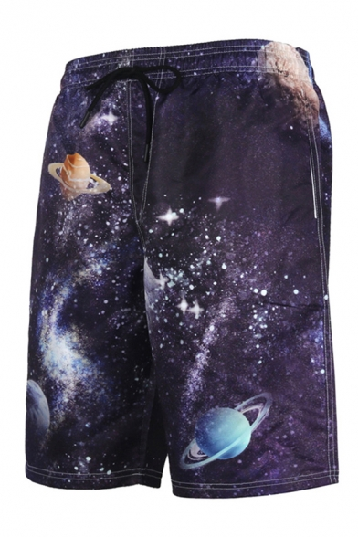 Mens Fancy Shorts Planet Starry Sky 3D Print Drawstring Straight Fitted Knee Length Relaxed Shorts with Pockets