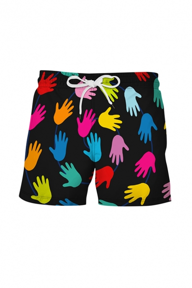 Mens Fashion 3D Relax Shorts Cartoon Handprint Pattern Drawstring Mid Waist Mid Thigh Regular Fit Relax Shorts
