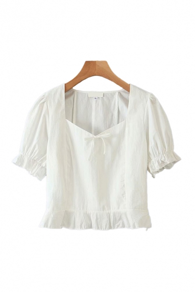 Novelty White Puff Sleeve Sweetheart Neck Tied Stringy Selvedge Slim Fit Crop Blouse Top for Ladies