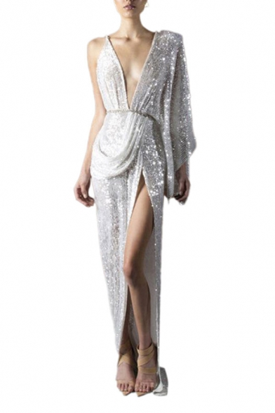 Silver Sexy Sequin Embellished Open Back Deep V Neck Single Sleeve Slit Asymmetric Hem Fitted Maxi Dress for Women