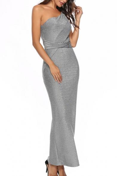 Banquet Womens Glitter Oblique Shoulder Slit Sides Long Sheath Dress in Gray