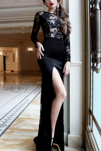 Black Vintage Womens Hollow Out High Slit Side Crisscross Back Backless Crew Neck Long Sleeve Floor Length Sheath Gown Lace Dress