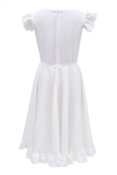 Elegant Womens Patchwork Gathered Waist Ruffle Hem Crew Neck Butterfly Sleeve Midi Fit&Flare Dress in White