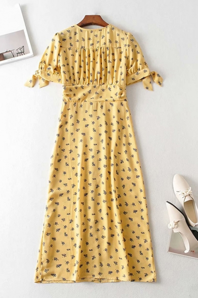 Glamorous Womens Ditsy Floral Printed Tied Puff Sleeve V-neck Button Up Long A-line Dress in Yellow