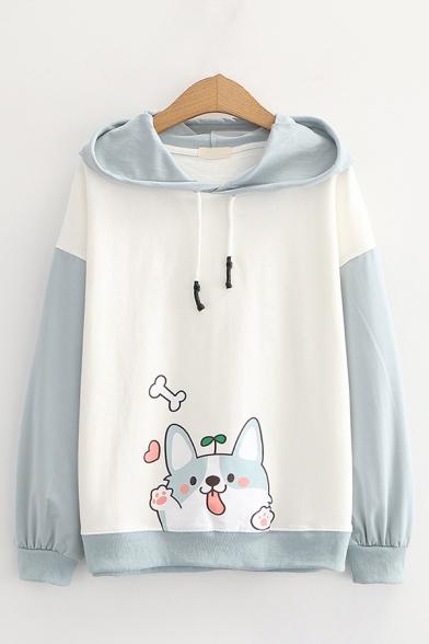 Kawaii Dog Printed Contrasted Long Sleeve Drawstring Loose Fit Hoodie