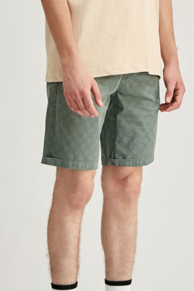 Mens Chinos Shorts Chic Plaid Striped Pattern Knee-Length Regular Fitted Zipper Fly Chinos Shorts
