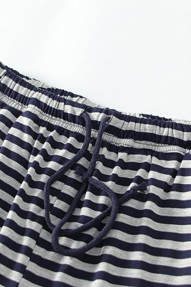 Mens Hot Fashion Classic Stripe Printed Drawstring-Waist Black Casual Shorts