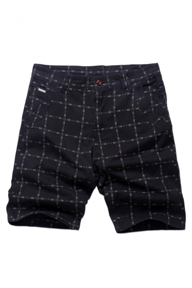 New Fashion Check Pattern Mid-Rise Cotton Loose Casual Shorts