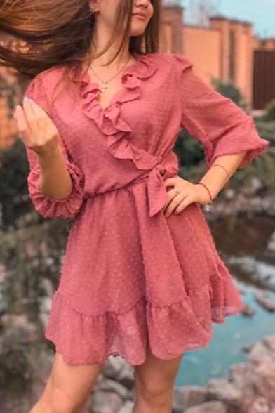 Popular Girls Polka Dot Printed Half Sleeve Surplice Neck Ruffled Trim Tied Waist Short A-line Dress