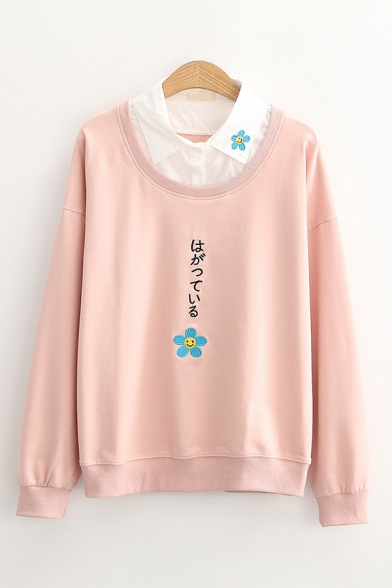 Pretty Japanese Letter Floral Embroidered Long Sleeve Polo Point Collar Button Detail Loose Sweatshirt LC675731 фото
