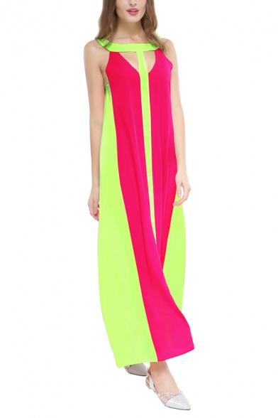 Unique Color Block Round Neck Hollow Cutout Front Maxi Swing Beach Dress