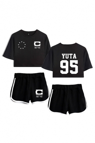 Casual Ladies Star Letter Nct Printed Short Sleeve Round Neck Regular Fitted Crop Graphic T-Shirt & Elastic Waist Tape Contrast Trim Pockets Shorts Set