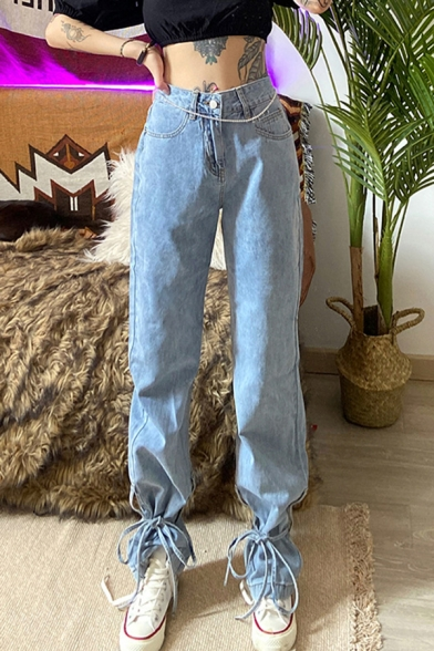 Baycheer / Dainty Womens Jeans Tie Hem Acid Wash Long Length Pockets High-rise Loose Fit Zip Placket Jeans