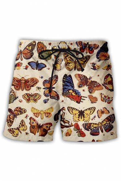 Dressy Mens Shorts Butterfly Starry Sky 3D Pattern Drawstring Waist Straight Fit over the Knee Length Relaxed Shorts