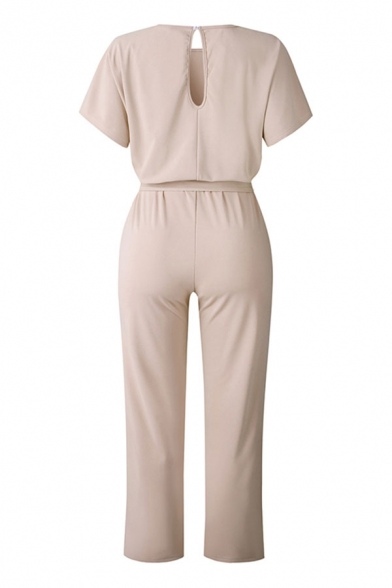 Elegant Plain Tie Belted Cut Out Back Short Sleeve Round Neck Long Loose Jumpsuits for Ladies