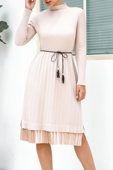 Fancy Patchwork Belted Mock Neck Long Sleeve Pleated Midi A-Line Sweater Dress for Women