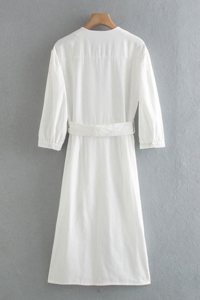Novelty Womens Plain Belted Ruched Button Up V Neck Long Sleeve Fitted Maxi Shirt Dress in White