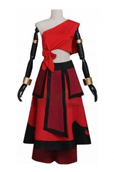 Popular Cosplay Red Oblique Shoulder Bow Tied Regular Crop Top & Patchwork Mid Pleated A-line Skirt Co-ords