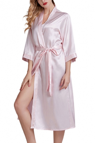Pretty Womens Letter Printed Bow Tie Waist Surplice Neck 3/4 Sleeve Silk Midi A-Line Wrap Nightgown in Light Pink